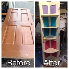 Take a solid 6 panel door and repurpose it as a corner shelf. Upscale furniture.