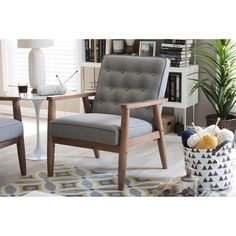 Baxton Studio Sorrento Mid-century Retro Modern Grey Fabric Upholstered Wooden Lounge Chair