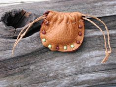 Leather Pouch Bag  Drawstring Pouch  Native by Shirlbcreationstoo, $18.00