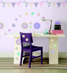 WallPops Patchwork Daisy Decals  Like a garden party theme for a girls room, these purple daisy and pennant wall stickers are so sweet! #walldecals  #wallart  #peelandstick  #WallPops  #wallstickers  #decor  #DIY  #decorating