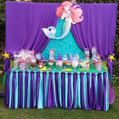 A Little Mermaid designed themed desert or candy table for your little princess birthday party! Mermaid Theme Birthday, Little Mermaid Birthday, Little Mermaid Parties, 1st Birthday Girls, First Birthday Parties, Birthday Party Themes, Princess Birthday, Birthday Ideas, Mermaid Party Decorations