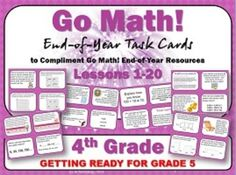 Go Math!  Grade 4:  Getting Ready for Grade 5 Task Cards