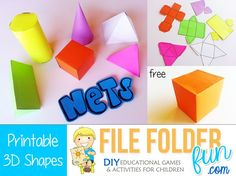 Download Resource Contents:  Use these free printable nets to build and create 3D shapes.  Children can make a Cube, Cylinder, Cone, Pyramid and more.  This is a great way to add a little hands on fun to your math curriculum.  Print on cardstock and laminate if using for a classroom set.  (Tape the edges) If using for …