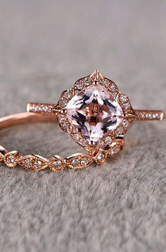 Moonstone engagement ring set rose gold engagement ring vintage Curved Diamond wedding band women Stacking Bridal Anniversary gift for her - Fine Jewelry Ideas Morganite Engagement, Rose Gold Engagement Ring, Vintage Engagement Rings, Diamond Wedding Bands, Wedding Engagement, Oval Engagement, Engagement Jewelry, Bling Bling, Unique Rings