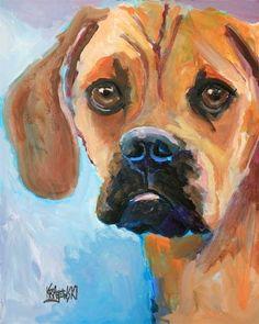 Puggle Art Print of Original Acrylic Painting by dogartstudio, $24.50