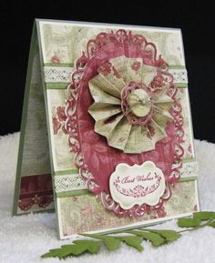 Vintage Fan Fold Flower by pam124 - Cards and Paper Crafts at Splitcoaststampers