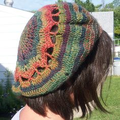 This slouch hat is made with self-striping sock yarn with long color changes.