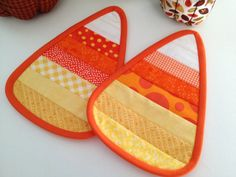 Candy Corn Quilted Candle Mat, Set of two, Original Design by Prims and Proper