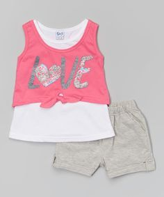 Another great find on #zulily! Pink 'Love' Tank & Gray Shorts - Toddler & Girls #zulilyfinds