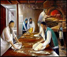 The sweet aroma of fresh baked matzah......art by Alex Levin, Israeli painter.