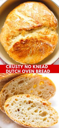 Crusty No Knead Dutch Oven Bread Recipe - easy to make with just a few basic ingredients, no special equipment. Let to rise overnight and baked in a Dutch oven. The perfect homemade bread, a foolproof recipe. bread recipe CRUSTY NO KNEAD DUTCH OVEN BREAD Dutch Oven Pot Roast, Dutch Oven Chicken, Dutch Oven Cooking, Dutch Oven Desserts, Dutch Oven Meals, No Knead Dutch Oven Bread Recipe, No Knead Bread, Bread In Dutch Oven, Basic Bread Recipe