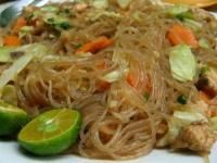 Pancit Bihon - Rice Noodles with pork and/or chicken. This is my childhood comfort food.