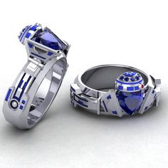 Introductory silver price!!! Ladies R2 Claddagh Ring, Geek Jewelry, R2D2 Ring, Paul Michael Designs, Blue and Silver Ring, Claddagh Ring, by PaulMichaelDesign on Etsy