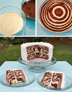 "zebra cake - I made this in a large rectangular loaf pan, and it still turned out perfectly.  It didn't look like the ""bullseye"" design in this picture, but it was still great on the inside."
