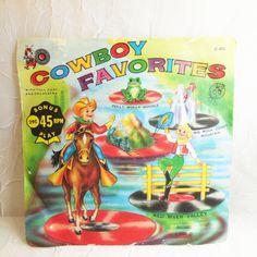 Cowboy Favorites  Cricket 45 RPM  Childrens Record  by CraveCute