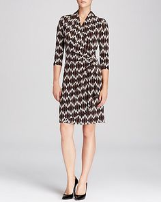 Karen Kane Solar Ikat Cascade Dress   Bloomingdale's, Karen Kane, Calvin Klein, and Donna Morgan make great knit dresses like this in a variety of prints for work. They are affordable, comfortable and cute and they work under a jacket.