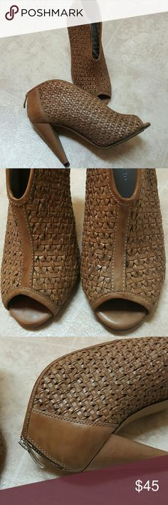 Vince Camuto leather booties Basket weave,ln excellent condition,peeptoe Vince Camuto Shoes Ankle Boots & Booties
