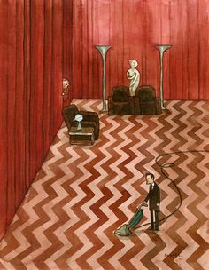 """""""The Peek"""" by Scott Campbell - 14"""" x 11"""" watercolor on paper. From the Twin Peaks: Fire Walk With Me 20th Anniversary group art exhibition at the Copro Nason Art Gallery, Santa Monica, CA April/May 2012."""