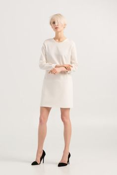 Minimal white dresses for casual outfit and special ocasions – mini, simple, smart, elegant, white dress with long sleeves, handmade from viscose and lycra – a unique product by BONJOURandKISS via en.dawanda.com