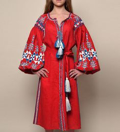 Red linen vyshyvanka midi dress in modern folk style. Embroidered Ukrainian geometric patterns (Zakarpattya region), with tassels and belt. Inside pockets. Made to order. Also can be made as blouse, tunic or maxi dress - PLEASE ASK!! Fabric - 100% linen Embroidery - handmade, 100%