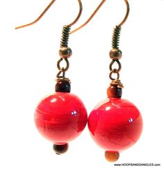 Handcrafted Costume Jewelry Vintage Red Murano Glass Wire Wrapped Dangle Drop Earrings via Etsy