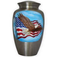 Cherish your fallen soldier with this hand painted, silver metal urn.