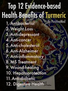 Top 12 Evidence-Based Health Benefits of Turmeric -PositiveMed | Positive Vibrations in Health #infographic #herbs