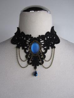Choker Necklace Lace Blue Victorian Bohemian Gothic by Ravennixe, $43.00