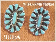 "Sleeping Beauty Turquoise - Sterling Silver Zuni Tear Drop Petit Point Needlepoint Sunburst 1"" Earrings - Arizona Estate - FREE SHIPPING by FindMeTreasures on Etsy"