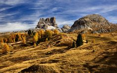 Download wallpapers Mountain pass, Passo Falzarego, autumn, mountain landscape, Dolomites, Italy