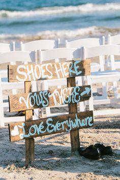 beach wedding wooden sign