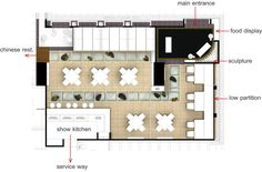 Grand Four Wings Convention Hotel Restaurant Floor Plan, Hotel Floor Plan, Modern Restaurant, Floor Plan With Dimensions, Room Dimensions, Coffee Cafe Interior, Japanese Restaurant Design, Bar Plans, Hotel Kitchen