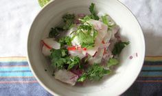 Felicity's perfect ceviche. A wonderful overview of the basics elements of a classic ceviche.
