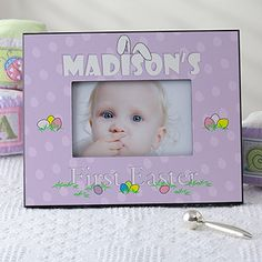 Awww a picture frame for a baby's First Easter! Love the bunny ears over their name! Comes in cute pastel purple and blue!
