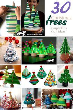 Christmas trees - 30  simple kids  craft ideas Diy Paper Christmas Tree, Easy Crafts For Kids, Christmas Crafts For Kids, Christmas Activities, Christmas Projects, Simple Christmas, Kids Christmas, Holiday Crafts, Christmas Ornaments