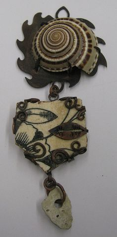 pendant, shell, copper, porcelain, rock, by lovedaylemon