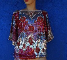 Vintage 60s 70s Sequin Beaded Rayon India Party by mom24kids, $45.00