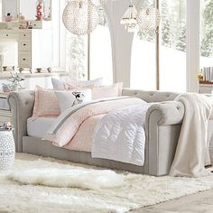 Cushy Roll-Arm Daybed #pbteen $1999. future sofa w/leather mattress cover                                                                                                                                                      More
