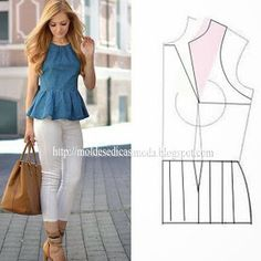Lower waist line. Maybe a lined waterfall peplum? Fashion Sewing, Diy Fashion, Ideias Fashion, Blouse Patterns, Clothing Patterns, Costura Fashion, Sewing Blouses, Diy Couture, Diy Clothing