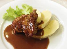 Denné menu Vranov   Grilovaný steak z bravčovej panenky preliaty omáčkou demi glace, zemiaková knedľa - reštaurácia Hotel Patriot*** #hotel #restauracia #dennemenu Steak, Food, Meal, Eten, Steaks, Meals, Beef