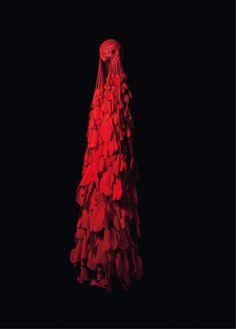 2013 Crâne en corde et feutrine rouges