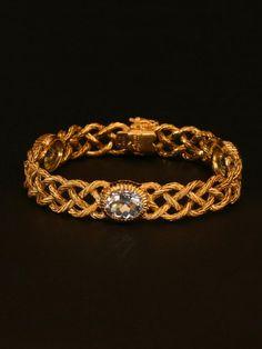 Buccellati 18K Yellow Gold Crepe de Chine Bracelet with 3 Bezel Set Aquamarine Gemstones at London Jewelers!