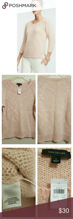 🆕Ann Taylor Blush Sweater This gorgeous blush colored sweater is sure to be a wardrobe favorite! Length of sweater hits right at top of hips. 3/4 length sleeves. Pics 2 and 3 of actual sweater you are purchasing. Ann Taylor Sweaters