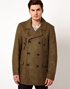 Shop French Connection Double Breasted Pea Coat at ASOS. Latest Fashion Clothes, Latest Fashion Trends, Pea Coat, Asos Online Shopping, French Connection, Double Breasted, Wall, Jackets, Men