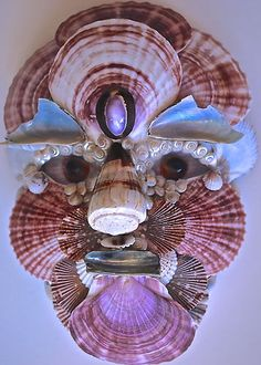 Venetian Mask made by Christa South Seashells in South Florida.