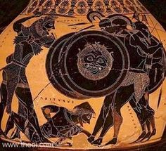 Heracles fighting the three-bodied giant Geryon, Athenian black figure vase B. Ancient Greek Art, Ancient Rome, Ancient Greece, Greek History, Roman History, Ancient History, Greek Shield, Greek Warrior, Greek Pottery