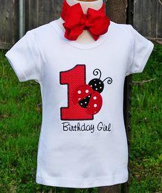 Ladybug birthday shirt 1 appli