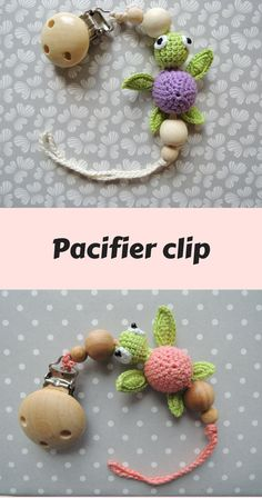 Pacifier clip with cute turtle and wooden beads is an unique baby shower gift for girl or boy. It is wooden teething toy, baby can bite beads and scratch gums. Wooden beads are very pleasant to touch; crochet beads have textured surface and nice colors. All parts are natural and well fixed.Easy to use: slip cord through pacifier and slide the entire pacifier clip through the loop to make a slip knot. Securely attach pacifier clip to child's clothing. babyshower gift #ad #baby #gift #nursery