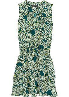 Kjole grøn print 136825 Maison Scotch Dress With Tiered Skirt - combo T