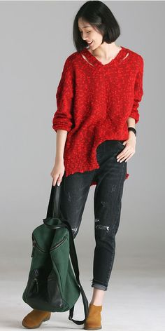 179cf2325e Cute Casual Red Sweater Women Fall And Winter Tops M1803
